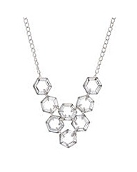 Mood Silver crystal hexagon necklace