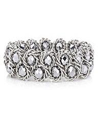 Mood Metallic silver plaited bracelet