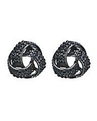 Mood Jet crystal knot stud earring