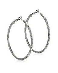 Mood Silver crystal large hoop earring