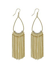 Mood Gold open peardrop tassel earring
