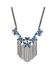 Mood Metallic blue fringed necklace