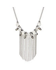 Mood opalesque beaded tassel necklace