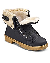Shearling Trim Lace Up Boots