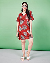 Simply Be Palm Print T-shirt Dress