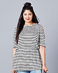 Simply Be Stripe Cut Out Shoulder Top