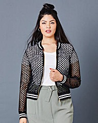 Simply Be Fishnet Bomber Jacket