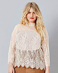 Simply Be High Neck Lace Top