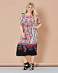 Simply Be Off Shoulder Print Dress