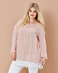 Simply Be Lace Trim Crinkle Tunic