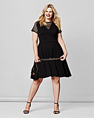 Simply Be Mesh Insert Skater Dress
