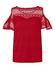 Simply Be Cut Out Shoulder Lace Top