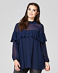 Simply Be High Neck Ruffle Blouse
