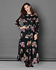 Simply Be Black Floral Maxi Shirt Dress