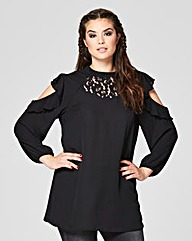 Simply Be Black Lace Insert Blouse