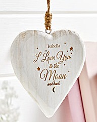 Personalised White Wooden Hanging Heart