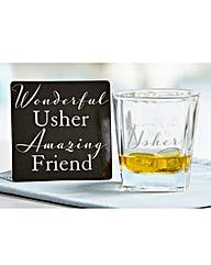 Wedding Whiskey Glass and Coaster Set