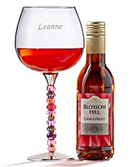 Personalised Beaded Wine Glass & Wine