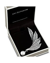Jon Richard Crystal Pearl Leaf Brooch