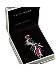Jon Richard Multicoloured Peacock Brooch