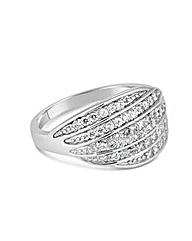 Simply Silver Embellished Curved Ring