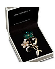 Jon Richard Green Flower Brooch