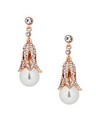 Jon Richard Rose Gold Pearl Drop Earring