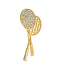 Espree Gold Plated Crystal Tennis Brooch