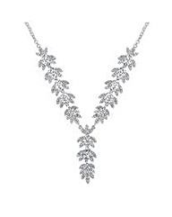 Vintage Style Crystal Leaf Drop Necklace