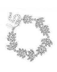 Vintage Style Crystal Leaf Link Bracelet