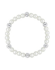 Simply Silver Crystal And Pearl Bracelet