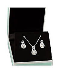 Jon Richard Pearl And Cubic Zirconia Set