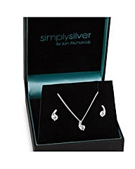 Simply Silver Cubic Zirconia Swirl Set