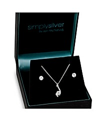 Simply Silver Cubic Zirconia Wave Set
