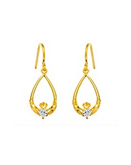 Gold Plated Silver Claddagh Earrings