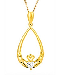 Gold Plated Silver Claddagh Pendant