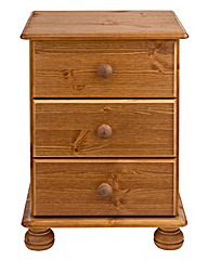 Stamford Pine 3 Drawer Bedside Table