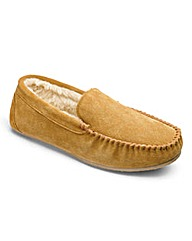 Suede Plain Moccasin Slipper