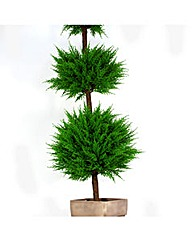 Artificial Topiary Cedar Triple Planter