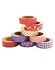 Set of 8 Washi Tapes - Pinks and Purples