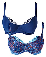 2 Pack Full Cup Wired Navy/Print Bras