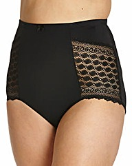 High Waist Geometric Lace Black Briefs