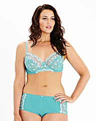 Ava Full Cup Wired Embroidered Teal Bra