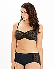Ava Multiway Wired Embroidered Black Bra