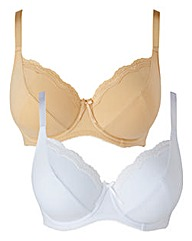 2 Pack Full Cup Wired Natural White Bras