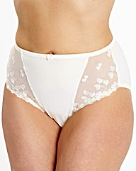 Ava Embroidered Cream Briefs