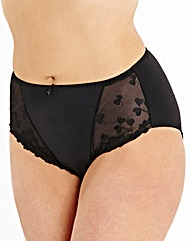 Ava Embroidered Black Briefs