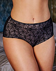 Flock Mesh Mid Rise Black Briefs