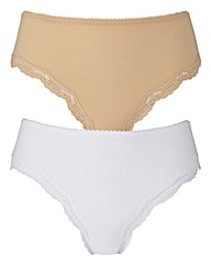 2 Pack Sophie Mid Rise Nat/White Briefs