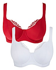 2 Pack Lucy Full Cup Red/White Bras